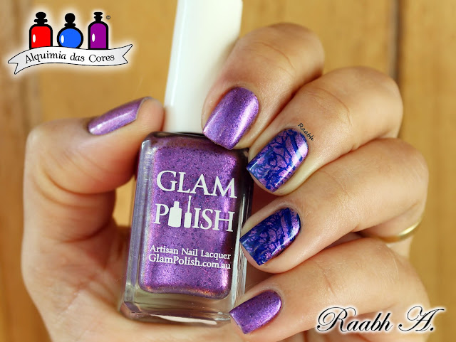Glam Polish, Glam Polish Iconic Chicago, Glam Polish Ok, Boys: Let's Make a Withdrawal, esmalte roxo, Shimmer, flackies, Esmalte Indie, Unhas carimbadas, Moyou London Trend Hunter 01, Nail Art, Raabh A. 2018,