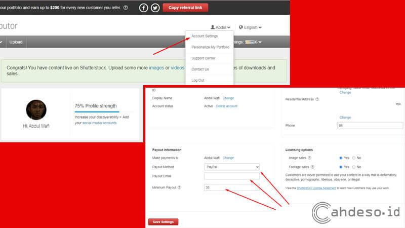 Mengatur Metode Pembayaran di Akun Shutterstock