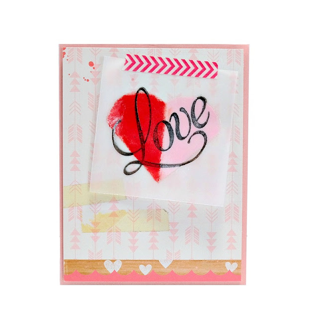 Embossed Vellum Love Heart Valentine's Day Card with Teresa Collins Petal Point Pigment Ink