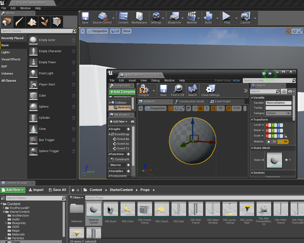 Creating a speed pick up in ue4 onlinedesignteacher this is the material sphere in the blueprint editor malvernweather Gallery