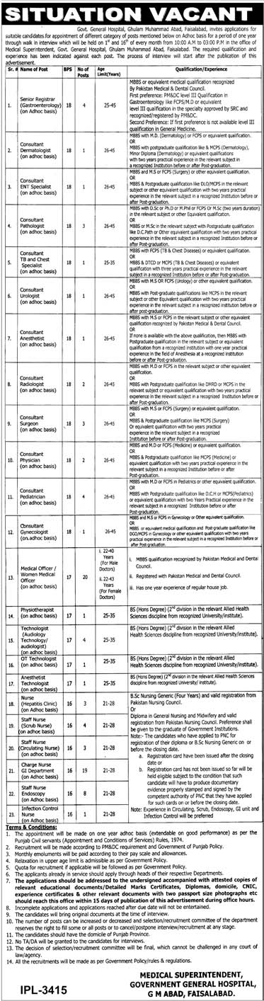 Govt Jobs in General Hospital Faisalabad 2019