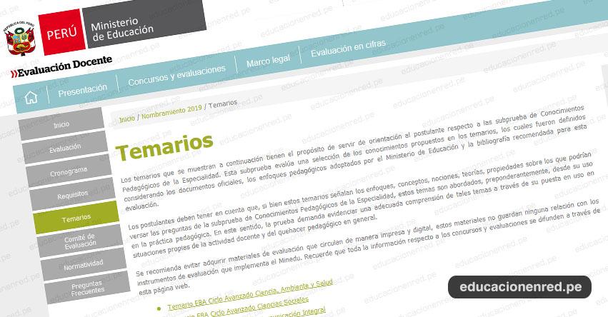 MINEDU: Temario para el Examen Nombramiento Docente y Contrato Docente 2019 (.PDF) www.minedu.gob.pe