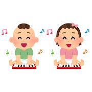 楽器で遊ぶ赤ちゃんのイラスト(ピアノ)