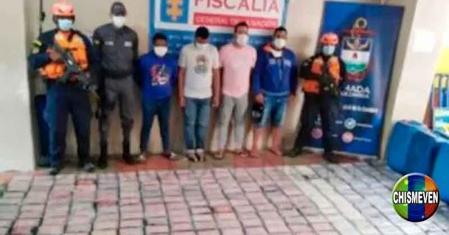 Cuatro Venezolanos detenidos en Colombia por traficar drogas en una lancha