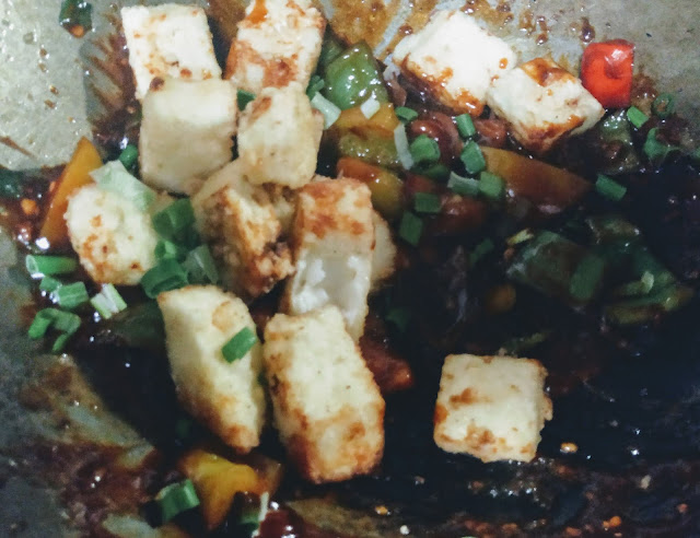 Fried paneer, vegetables with sauces for chilli paneer recipe