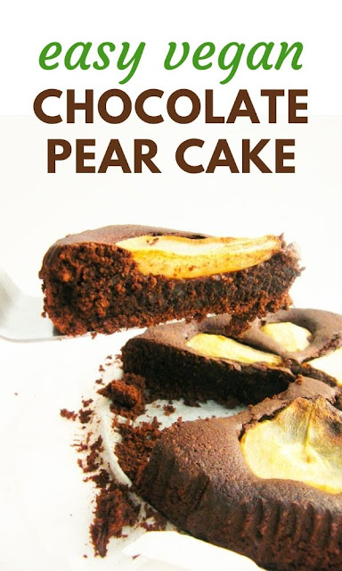 Vegan Chocolate Cake with Pear - a fudgy dairy-free and egg-free chocolate cake that makes a wonderful dessert for special occasions like Easter and Christmas #veganchocolatecake #vegancake #veganpearcake #chocolatepearcake #dairyfreechocolatecake #veganchristmascake #veganchristmasdessert #veganchristmasrecipes