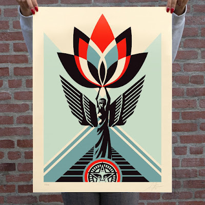 "OBEY Giant ""Lotus Angel"" Screen Print by Shepard Fairey"