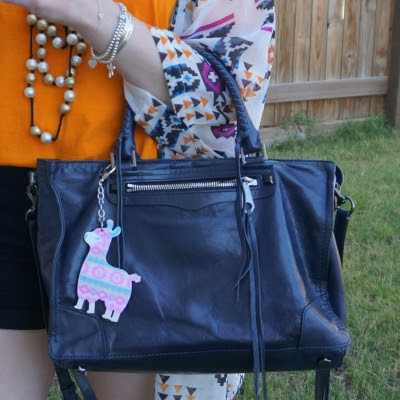 Rebecca Minkoff Regan Satchel Tote in moon with marigold orange tee and kimono | awayfromtheblue