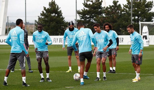 Real Madrid players in training with Eden Hazard back from injury