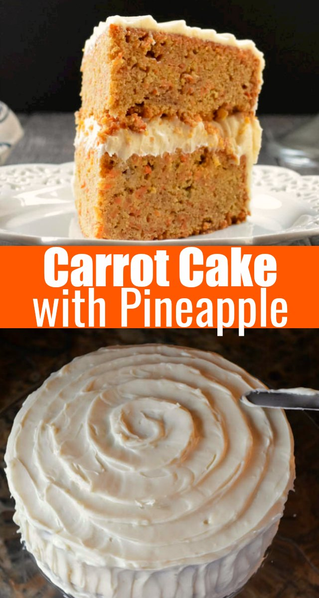 Carrot Cake with Pineapple covered with cream cheese frosting is a moist spicy carrot cake recipe from Serena Bakes Simply From Scratch.