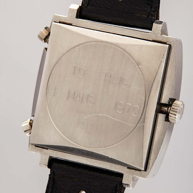 The engraving on the caseback of the Heuer Monaco worn by Steve McQueen for the 1971 film Le Mans