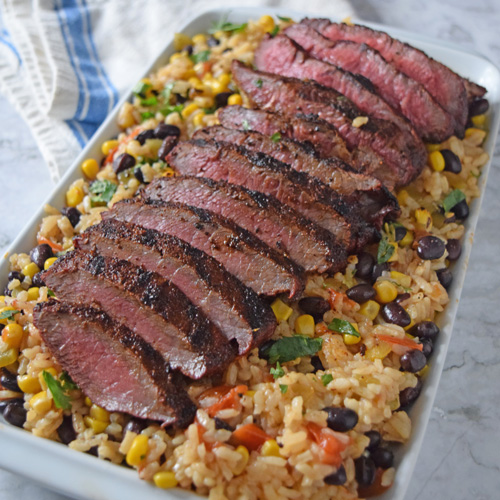Certified Angus Beef's Southwestern Steak, Black Beans and Rice