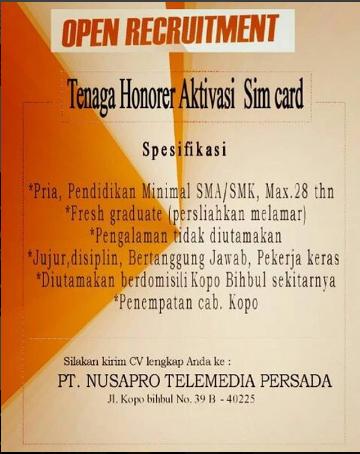 Loker PT Nusapro Telemedia Persada