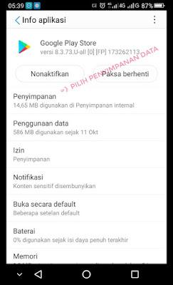 Pilih penyimpanan data