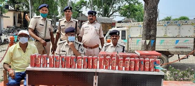पुलिस ने जब्त किए भारी मात्रा में शराब व बियर