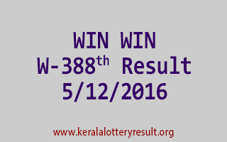 WIN WIN W 388 Lottery Results 5-12-2016