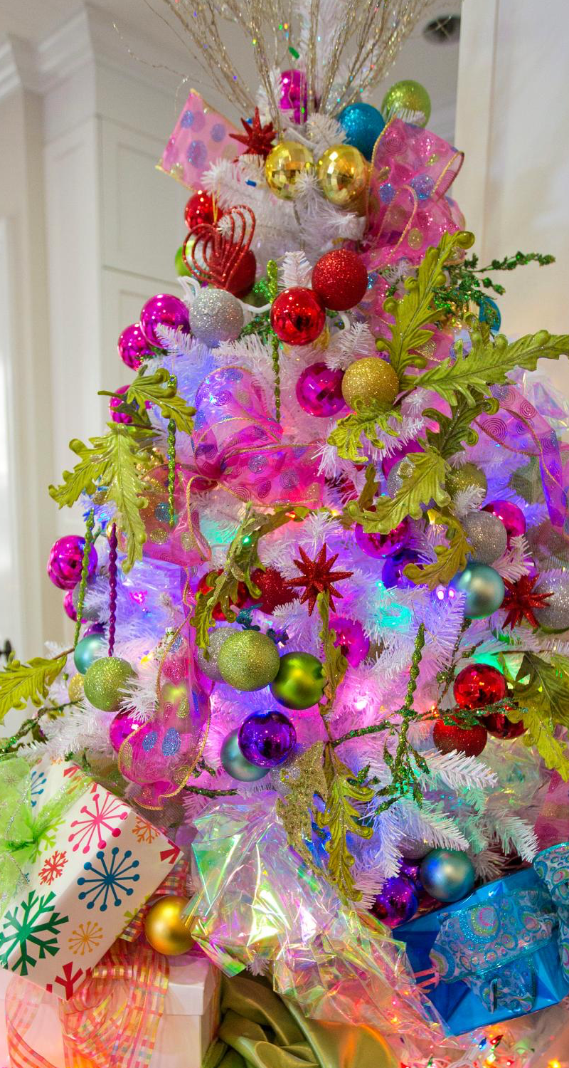 Bright Neon with Radiant Orchid Accents Christmas Tree