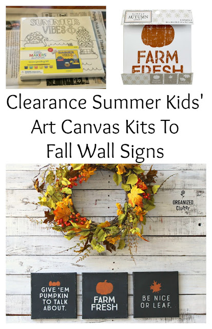 Summer Clearance Kids' Canvas Art Kits Repurposed As Fall Wall Signs #joannfabrics #canvassign #fallsign #falldecor #stencil #stenciling