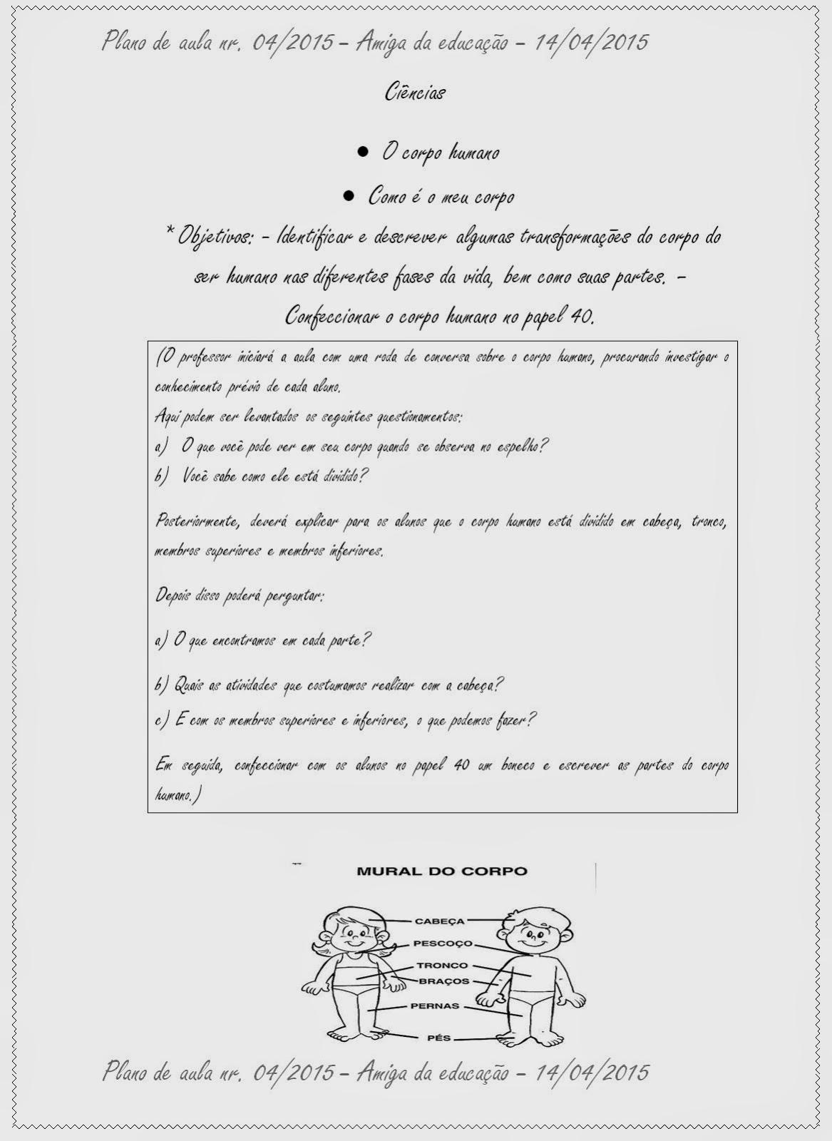 Amiga Da Educacao Plano De Aula Nr 04 Lingua
