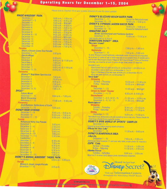 Operating Hours Walt Disney World December 2004
