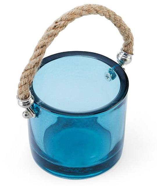 Blue Glass Tealight Candle Holder with Rope Handle