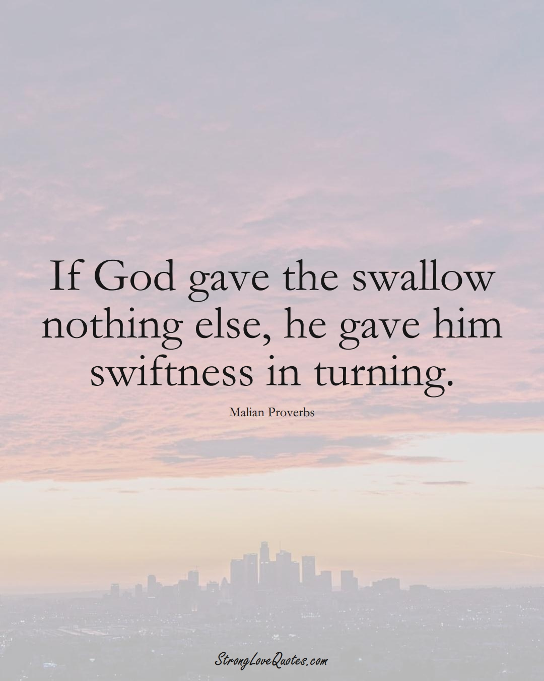 If God gave the swallow nothing else, he gave him swiftness in turning. (Malian Sayings);  #AfricanSayings
