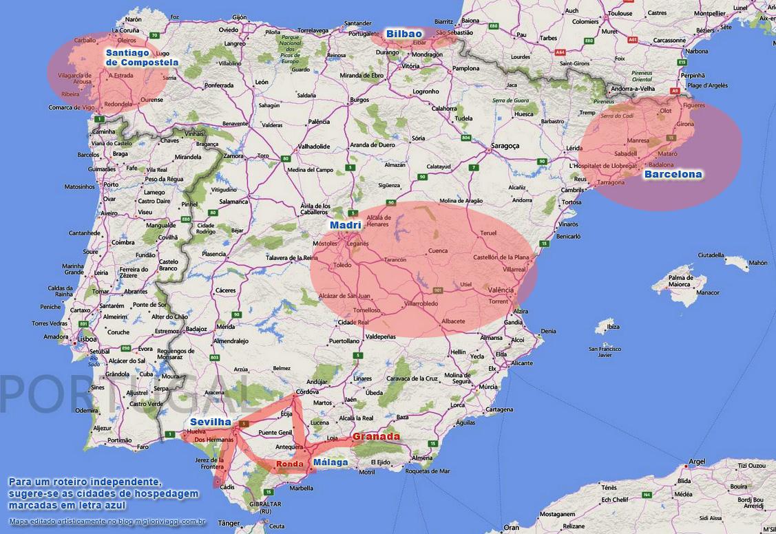 mapa de espanha por cidades Cidades e Roteiro na Espanha mapa de espanha por cidades