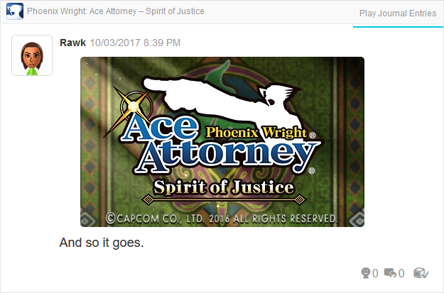 Phoenix Wright Ace Attorney Spirit of Justice title screen ending