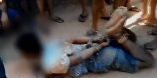 População amarra adolescente suspeito de estupro no Ceará até a chegada de policiais