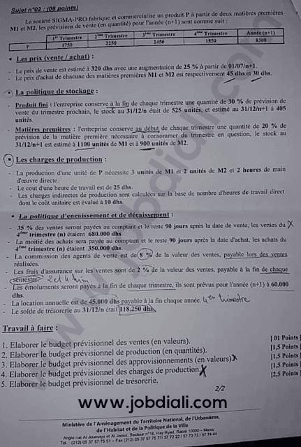 Exemple Concours de Techniciens 3ème grade - Ministère de l'Aménagement du Territoire National