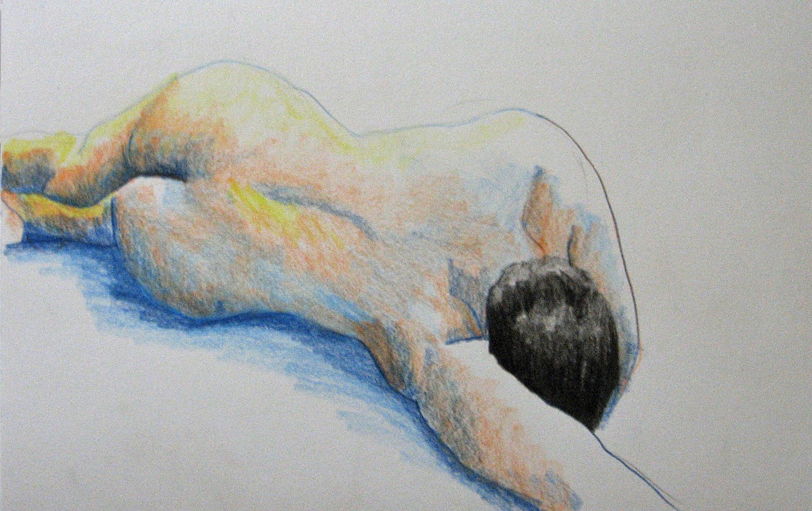Nude on stomach colored pencil and pastel 9 x 12 in