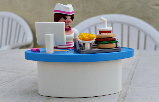 The Playmobil Diner Waitress with Counter assembled