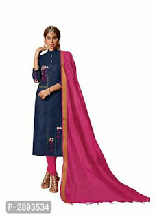 Cotton Blend Embroidered Dress Material