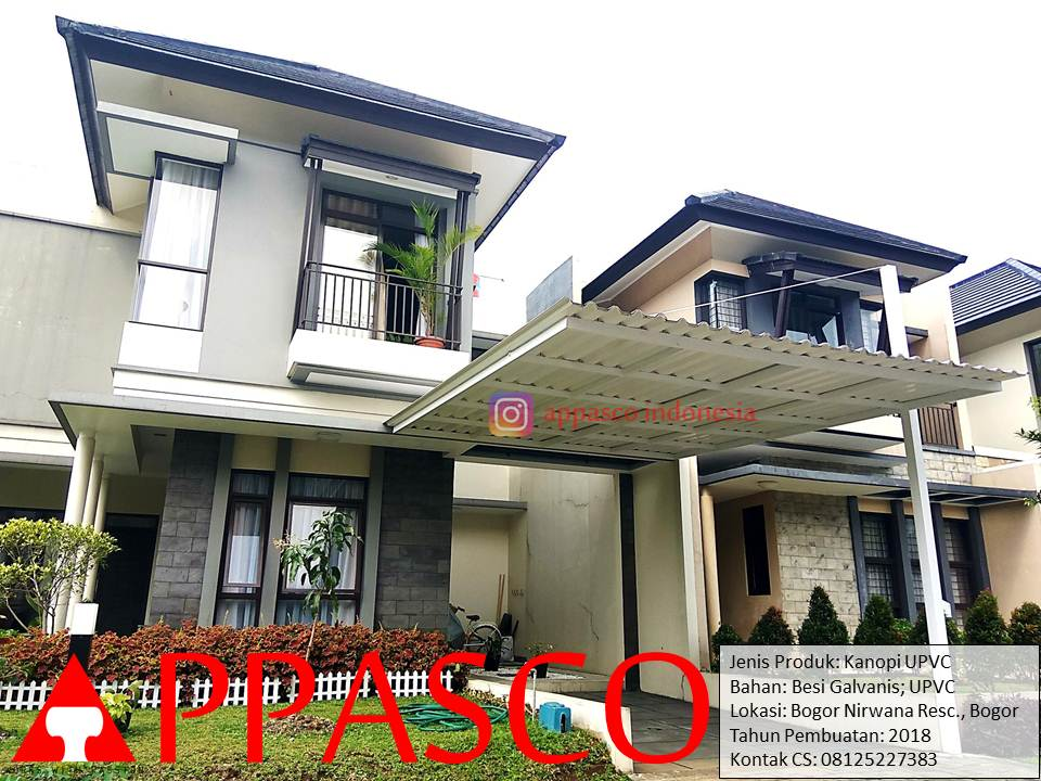Kanopi Minimalis Besi Galvanis Atap UPVC di Bogor Nirwana Residence