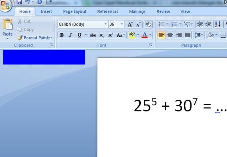 Contoh hasil pengetikan-penulisan bilangan berpangkat di m word