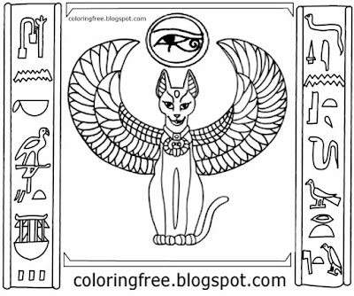 Abu Simbel temples ancient Egyptian cat illustration primitive writing Egypt hieroglyphs to color in