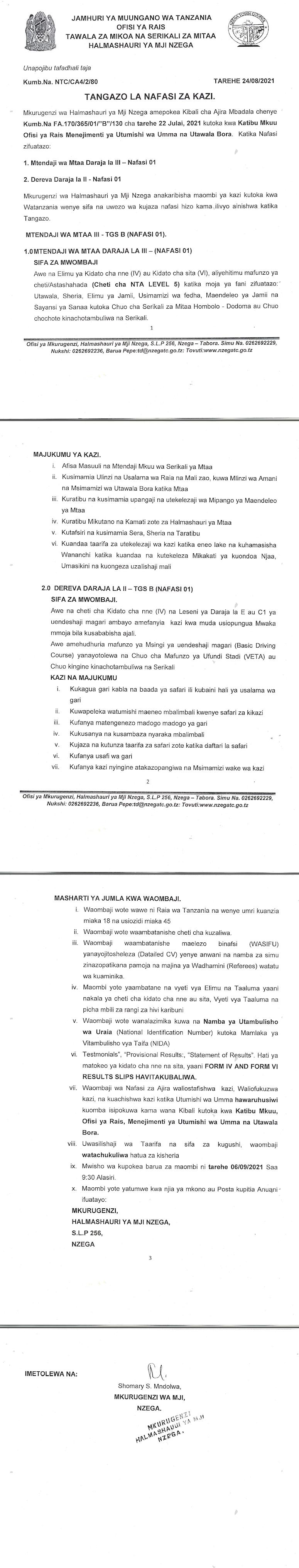 Various Jobs at NZEGA District Council August 2021