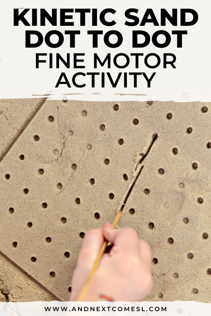 Fine motor kinetic sand activity idea for toddlers and preschoolers