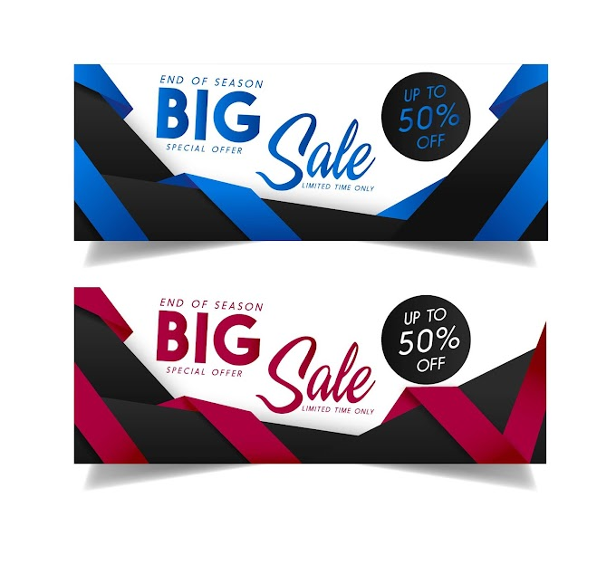 Sales banner templates colorful modern dynamic decor Free vector