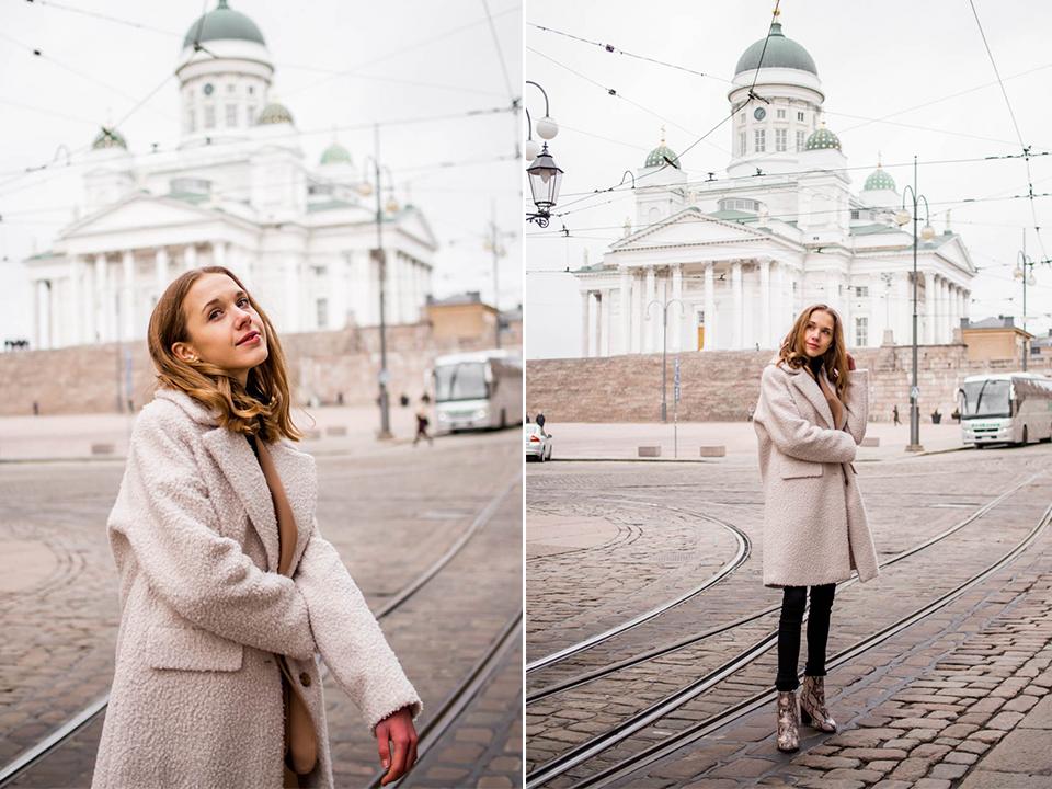 Winter outfit with teddy coat - Talviasu ja teddy-takki, Helsinki