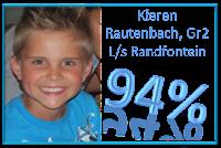 Kieren Rautenbach van Laerskool Randfontein is met 94% die top-redenaar in graad twee, na die skitterende lewering van sy toespraak onder die ATKV se 2013 tema SPEELGOED