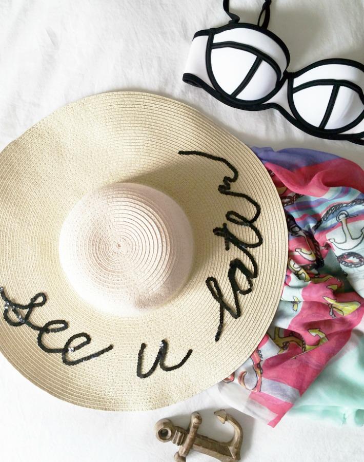 Decoración Fácil  4 Tutoriales sombreros de playa con frases 1fc2033d5f5