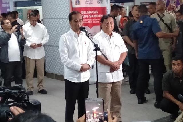 Bertemu Prabowo di MRT, Jokowi: Saya Bertemu Sahabat, Bertemu Saudara