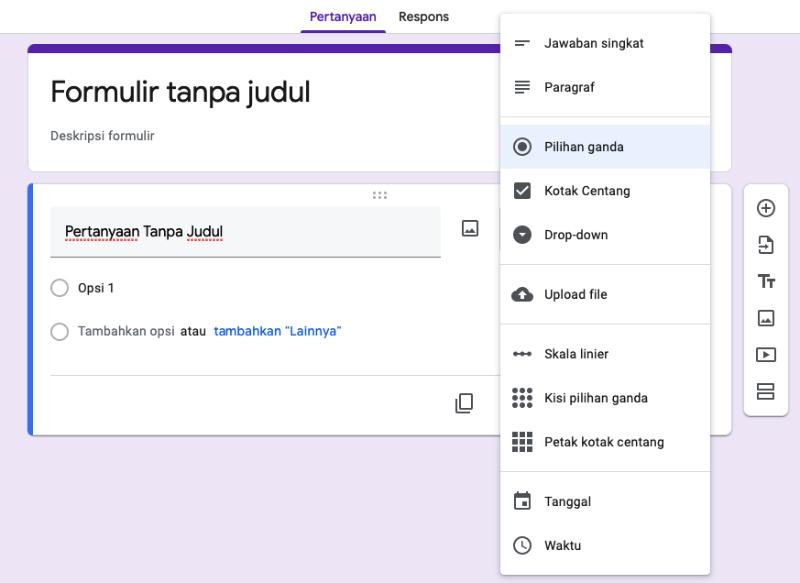 Cara Membuat Kuis Online Menggunakan Iframe dan Google Form bentuk bentuk soal
