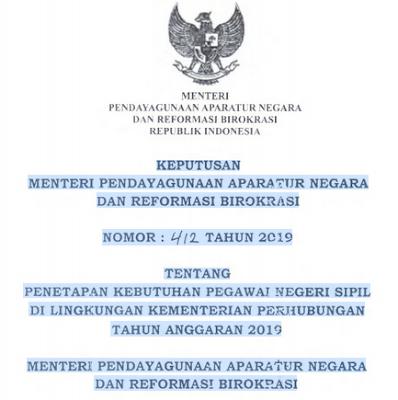 Download Surat Keputusan Menpan-RB NOMOR : 412 Tentang Penetapan Kebutuhan PNS di Lingkungan Kementerian Perhubungan Tahun Anggaran 2019 I Formasi CPNS Tahun 2019 di Lingkungan Kemenhub