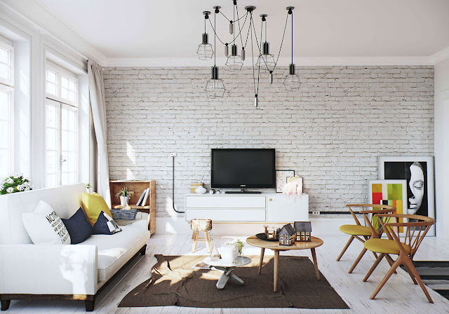 white brick walls living room design