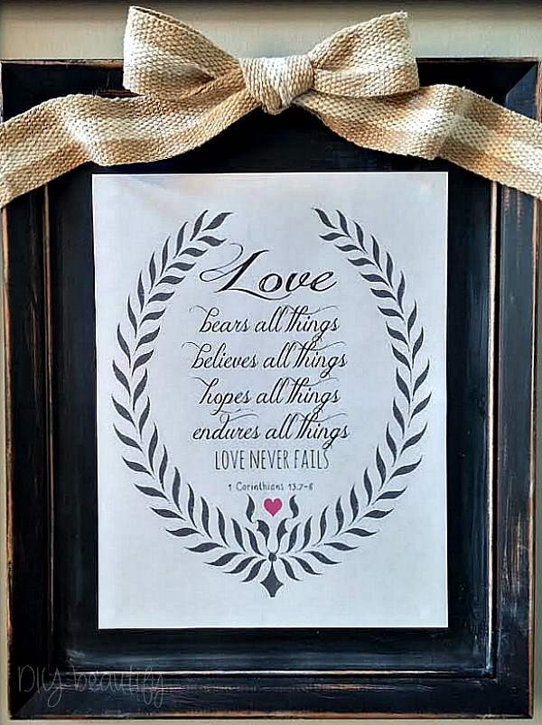 Free printable LOVE verse at DIY beautify