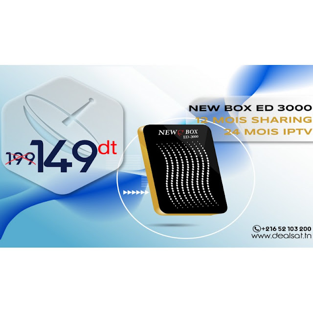 NEW BOX ED 3000 HD 24 MOIS IPTV -12 MOIS SHARING