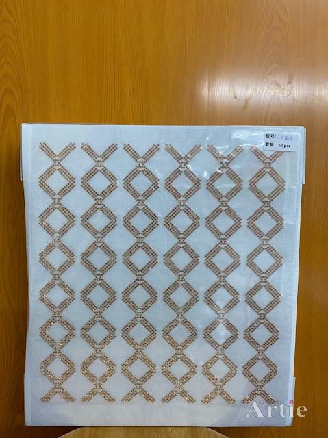 Sticker hotfix rhinestone DMC 6 jalur aplikasi tudung, bawal & fabrik pakaian motif kotak diamond gold