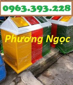 Thùng rác 3 ngăn phân loại rác, thùng rác 3 ngăn nhựa composite TR3N3